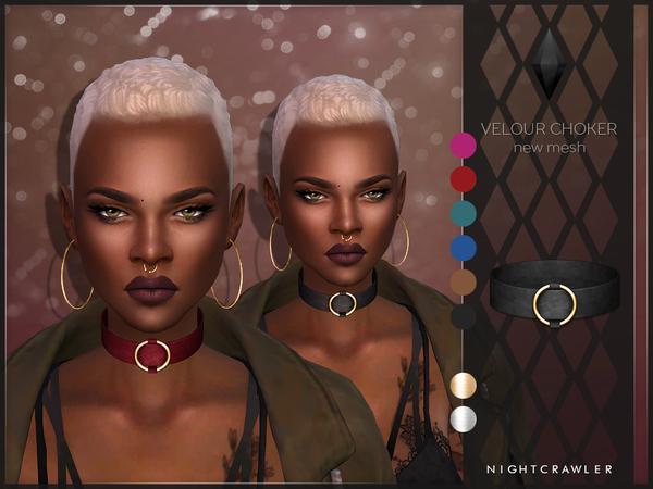 The Sims Resource: Velour Choker by Nightcrawler