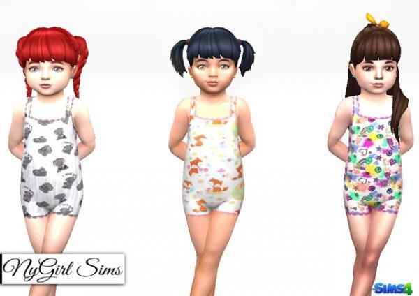 NY Girl Sims: Lace Trim Toddler Pajama Bodysuit Prints