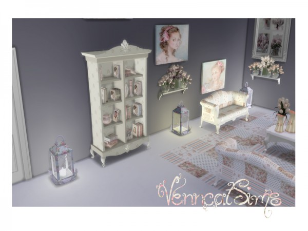 The Sims Resource: Shabby Chic Rustic Bookcase by Venncat