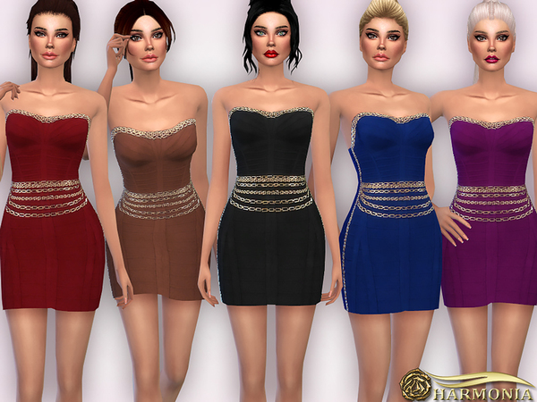 The Sims Resource: Chain embellishments Bodycon Dress by Harmonia
