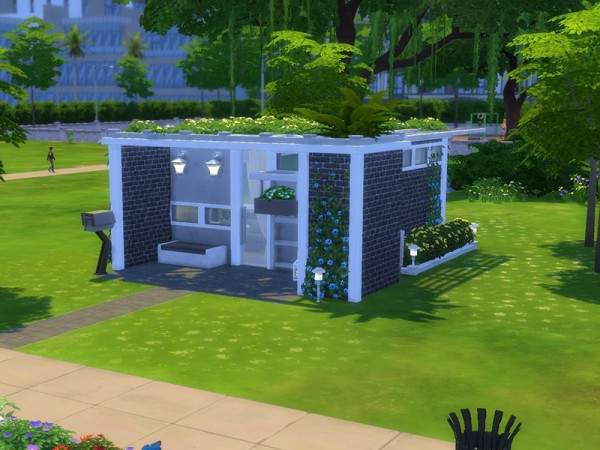 The sims resource small modern house 5x5 chellenge lot for Minimalist house the sims 4