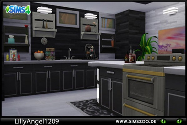 Blackys Sims 4 Zoo: Kitchen Black and White by LillyAngel1209
