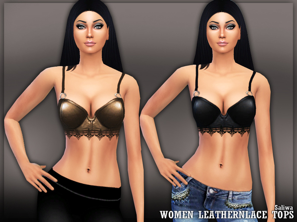 The Sims Resource: Lace N Leather Tops by Saliwa