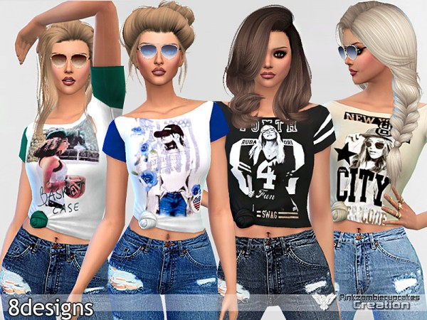 The Sims Resource: Graphic Tees Collection 01 by Pinkzombiecupcake