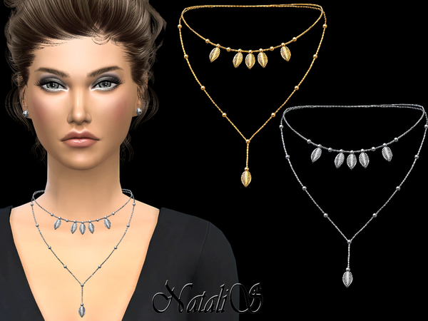 The Sims Resource: Double necklace with small beads by NataliS