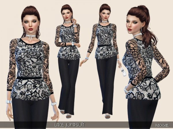 The Sims Resource: Lace Jumpsuit by Paogae