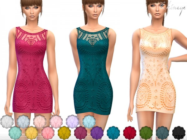 The Sims Resource: Embroidered Lace Dress by ekinege