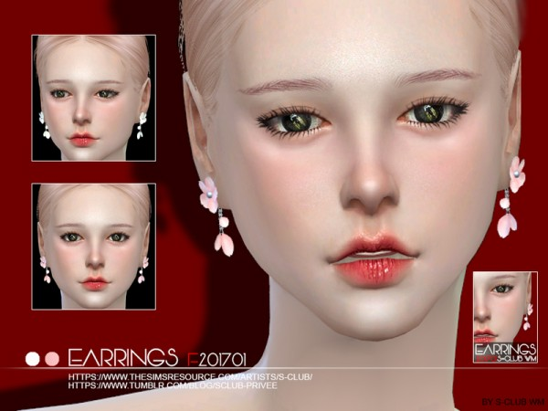 The Sims Resource: Earrings F 201701 by S Club