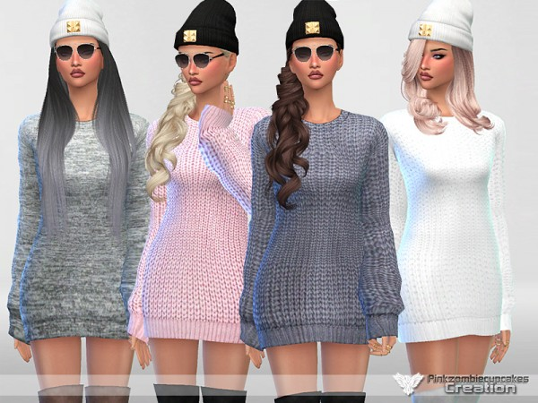 The Sims Resource: Sweater Dress Collection Mina by Pinkzombiecupcakes