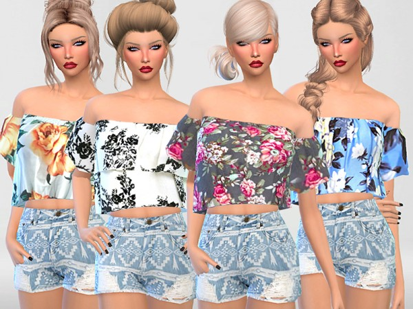 The Sims Resource: Off the Shoulder Floral Tops Collection by Pinkzombiecupcakes