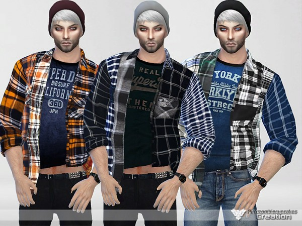 The Sims Resource: Mixed Panel Shirt Collection by Pinkzombiecupcakes