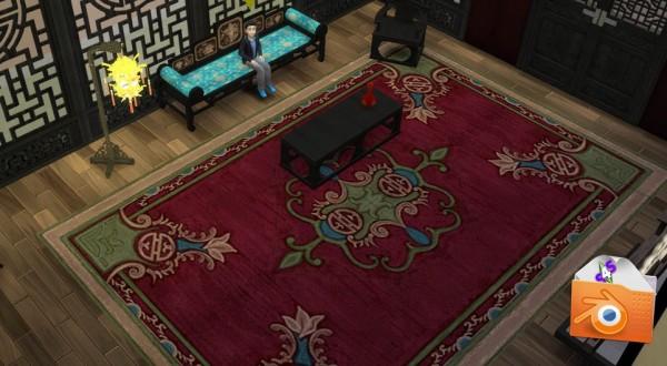 Simsworkshop: Titan Quest   Jade Palace Rug by BigUglyHag