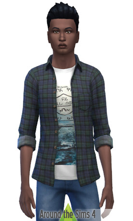 Around The Sims 4: Plaid Open Shirt with Alice in Chains T Shirt