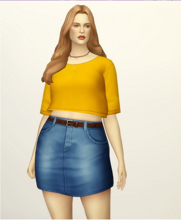 Rusty Nail: High rise denim skirt with belt   20 colors