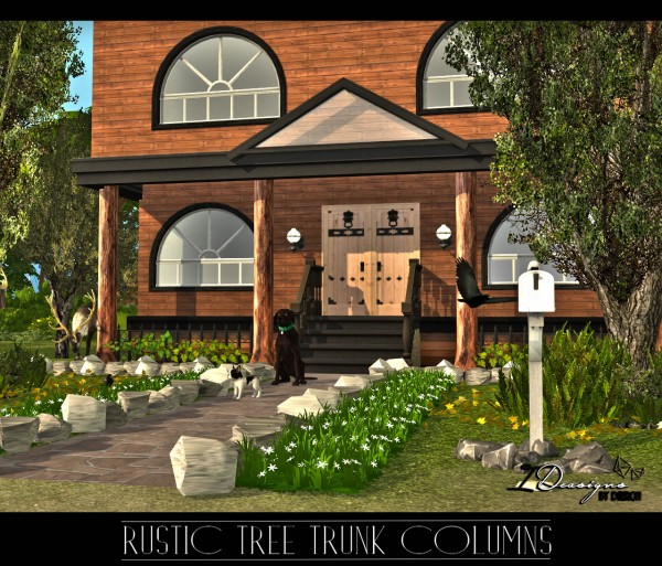 Sims 4 Designs: Rustic Tree Trunk Columns Set • Sims 4 Downloads