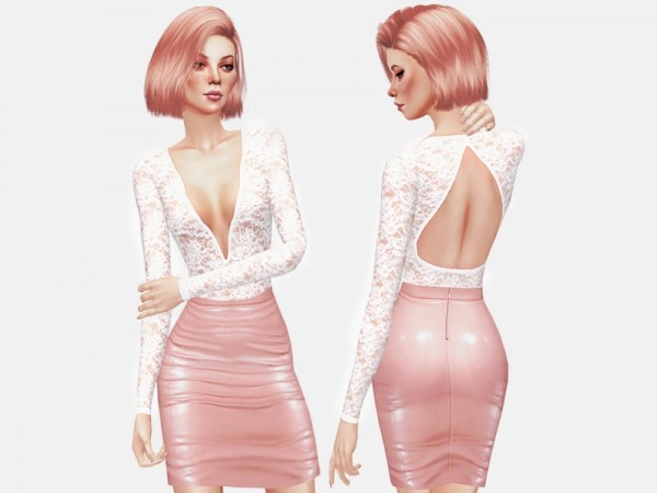 The Sims Resource: Lace Bodysuit by itsleeloo