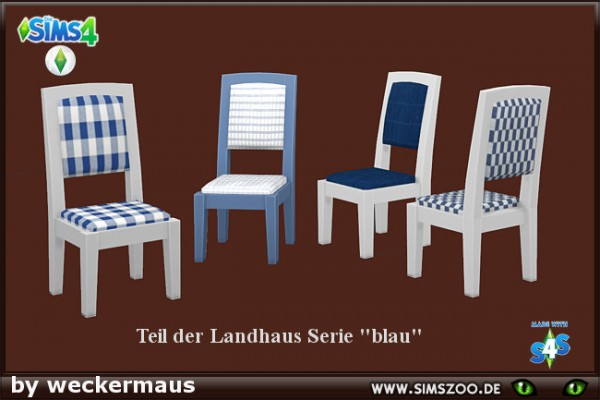 Blackys Sims 4 Zoo: Dining chair blue by weckermaus