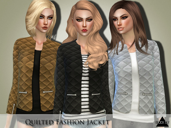 The Sims Resource: Quilted Fashion Jacket by Black Lily