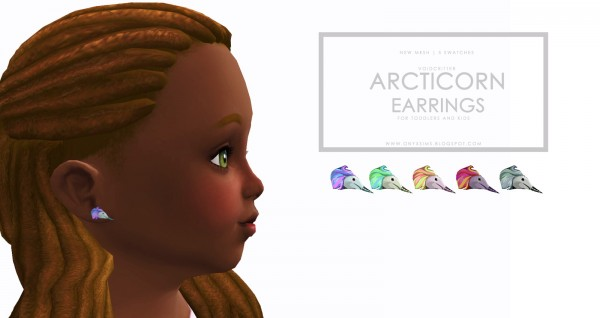 Onyx Sims: Arcticorn earrings for toddlers