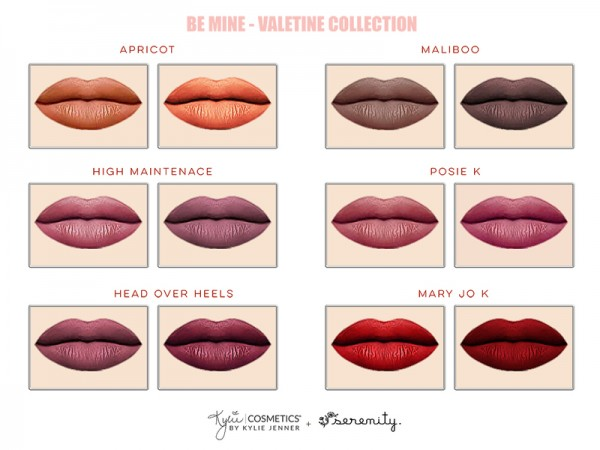 The Sims Resource: Kylie Valentine collection   Matte Lipsticks Mini Kit by serenity cc