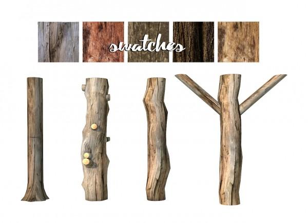 Sims 4 Designs: Rustic Tree Trunk Columns Set