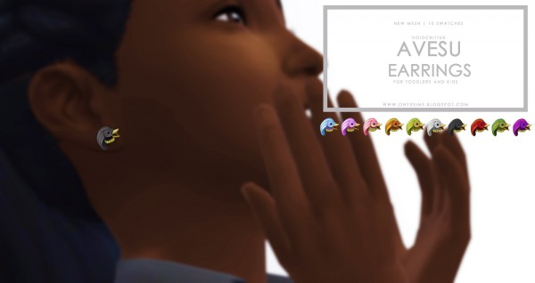 Onyx Sims: Avesu earrings for toddlers and kids
