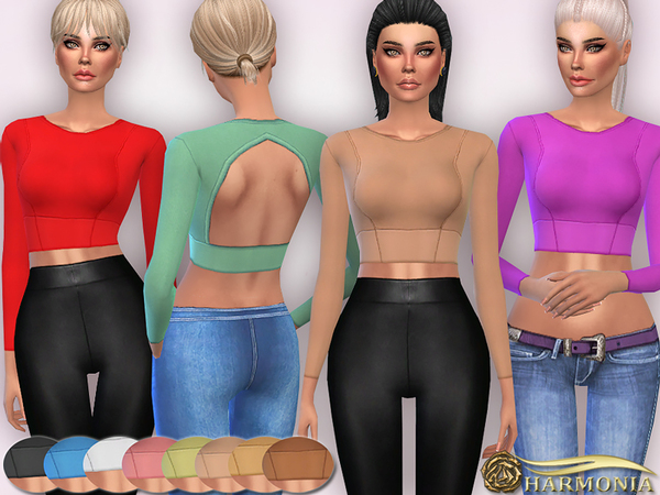The Sims Resource: Crop Long Sleeve Top   Back Cut out bu Harmonia
