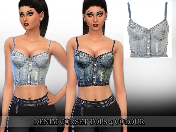 The Sims Resource: Denim Corset Top by Saliwa