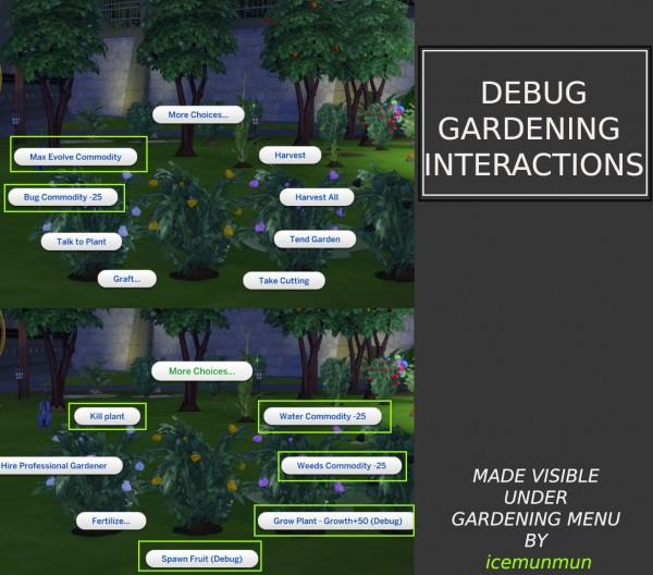 Mod The Sims: Debug Gardening Interactions made visible by icemunmun