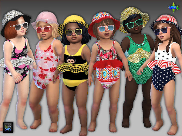 Arte Della Vita: Sets with 6 swimsuits, hats and sunglasses for toddlers