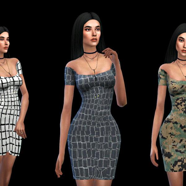 Leo 4 Sims: Off Shoulder Claire Dress recolor