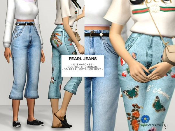The Sims Resource Pearl Jeans By Serenity Cc Sims 4
