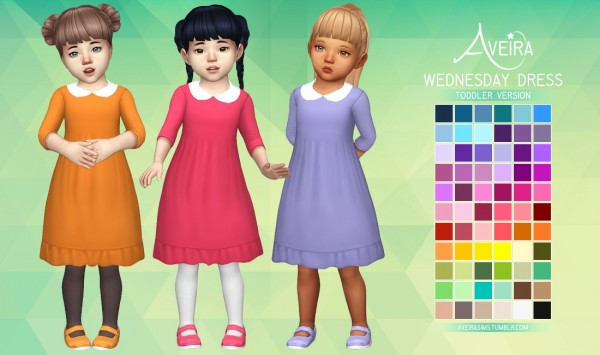 Aveira Sims 4: Wednesday Dress for toddlers