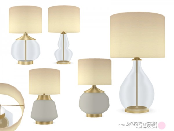 The Sims Resource: Blue Barrel Lamp Set by DOT