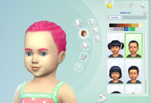Mod The Sims: Freedris Dyed Hair for Toddlers   Hair and Eyebrow Recolours by freedri