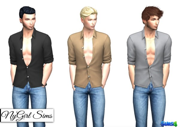 NY Girl Sims: Movie Hangout Unbuttoned Shirt