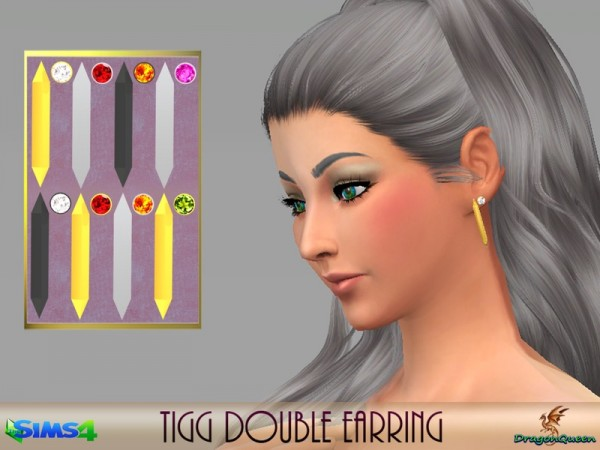 The Sims Resource: Tigg Double Earrings by DragonQueen