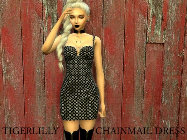 The Sims Resource: Chainmail Dress by tigerlillyyyy