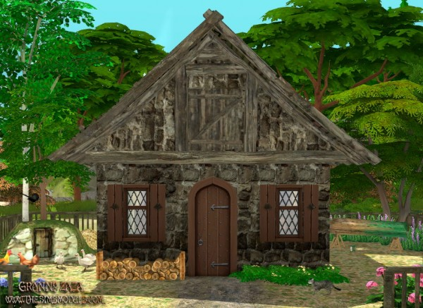 The Sims Models: Medieval roof  and stone walls