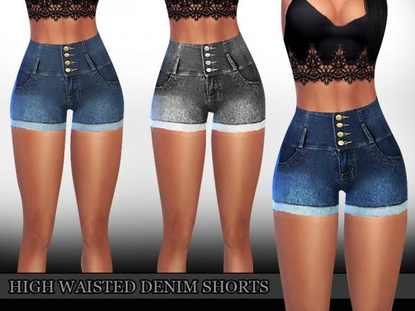 The Sims Resource: High Waisted Denim Shorts by saliwa