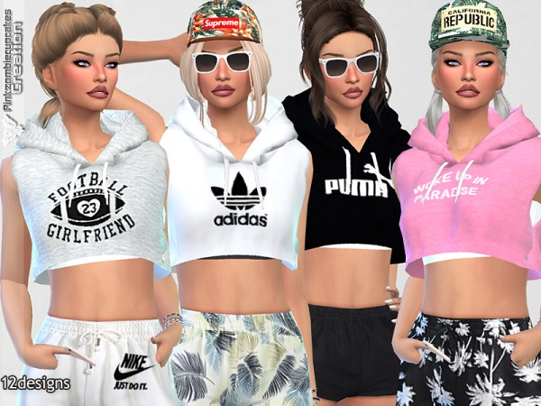 The Sims Resource: Sleeveless Hoodie Collection by Pinkzombiecupcakes