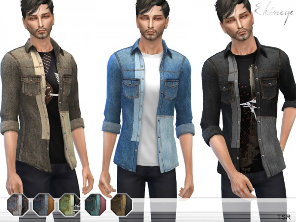 The Sims Resource: Patchwork Denim Shirt by ekinege