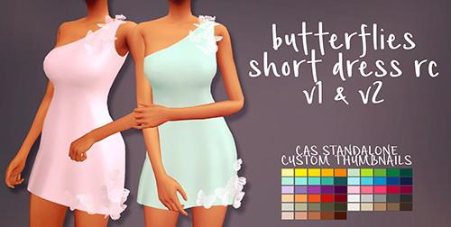 Simsworkshop: Sympxls Butterflies Short Dress