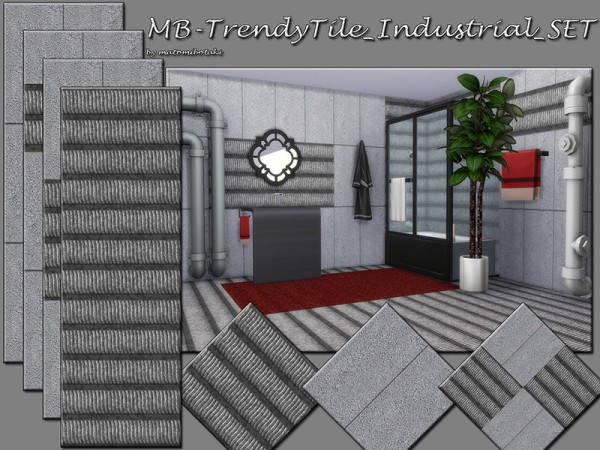 The Sims Resource: Trendy Tile Industrial walls set by matomibotaki