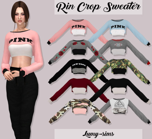 Lumysims Rin Crop Sweater Sims 4 Downloads