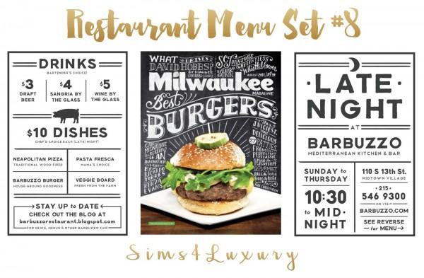 Sims4Luxury: Restaurant Menu Set 8