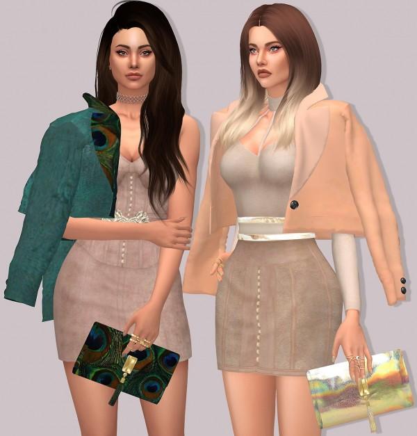 LumySims: Mila Accessory Blazer, Shoulder Blazer and Clutch Bag