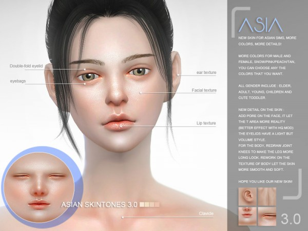 The Sims Resource: Asian skintones 3.0 by S Club