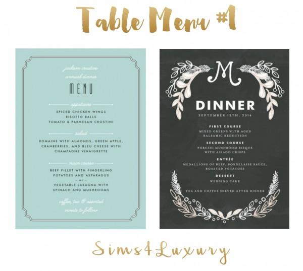 Sims4Luxury: Table Menu 1