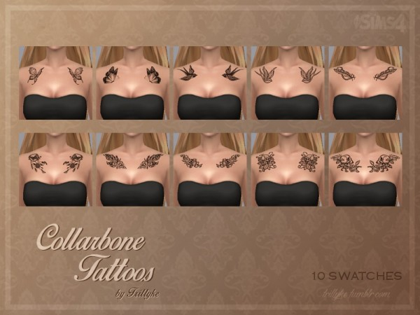 The Sims Resource: Trillyke   Collarbone Tattoos